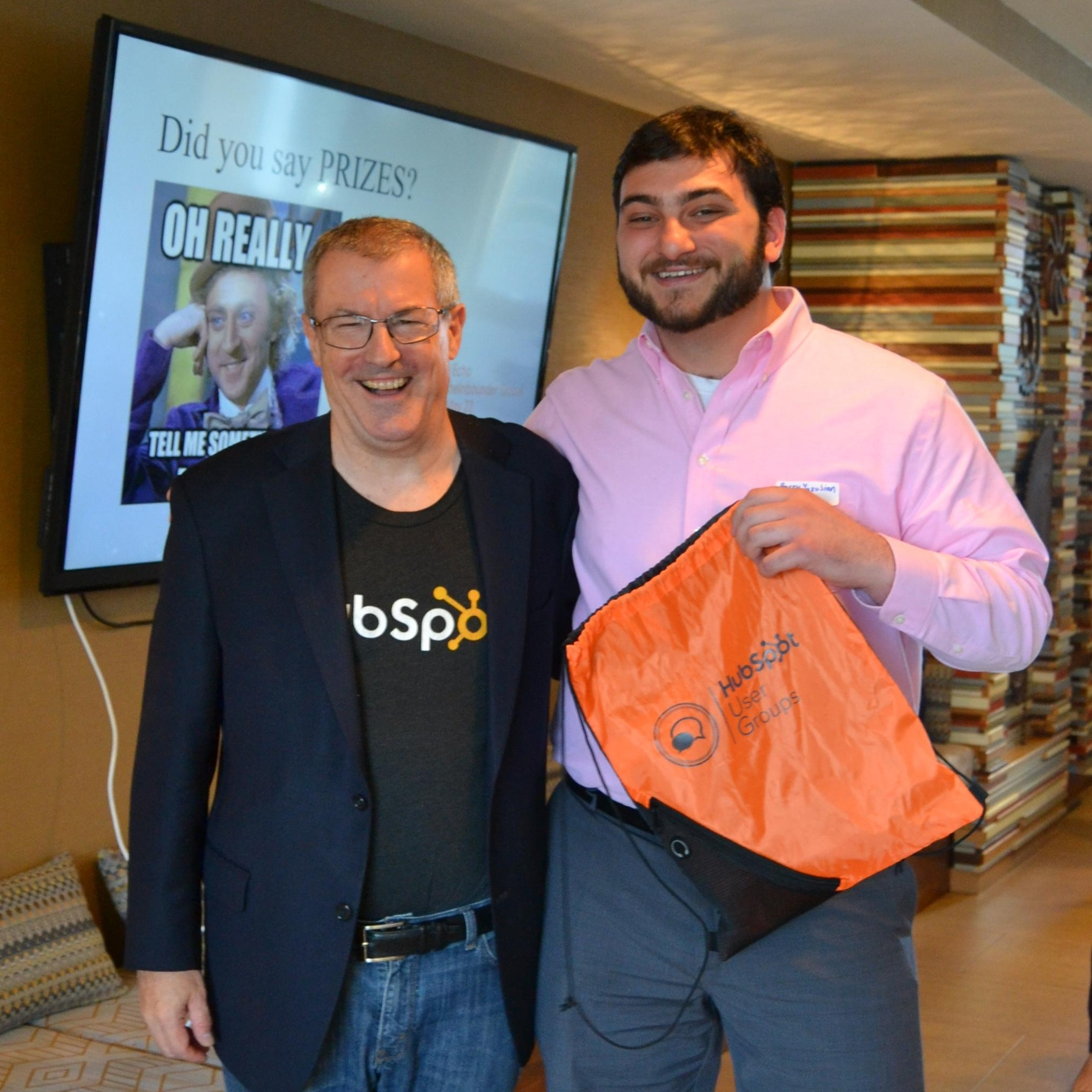 Philly HUG: Temple Sales Association student wins a book bag and photo with Dan Tyre